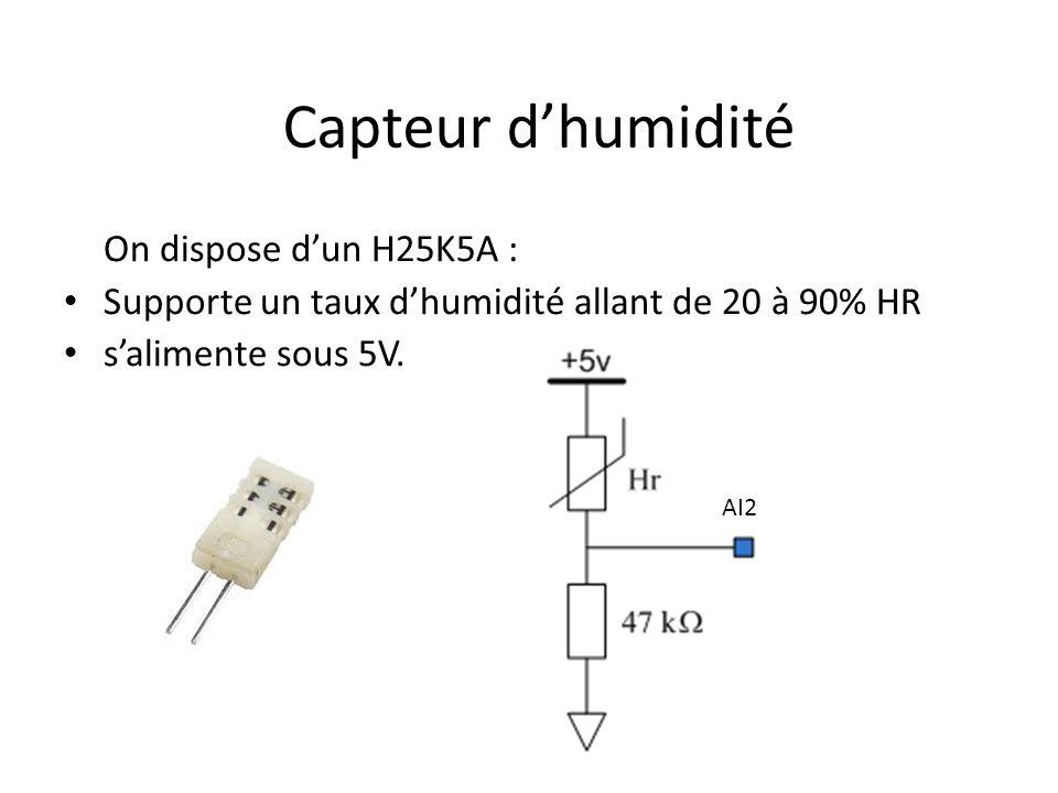 Capteur dhumidité On dispose dun H25K5A : Supporte un taux dhumidité allant de 20 à 90% HR salimente sous 5V. AI2