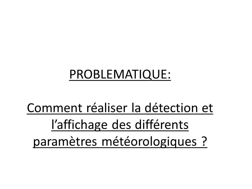 PROBLEMATIQUE: Comment réaliser la détection et laffichage des différents paramètres météorologiques ?