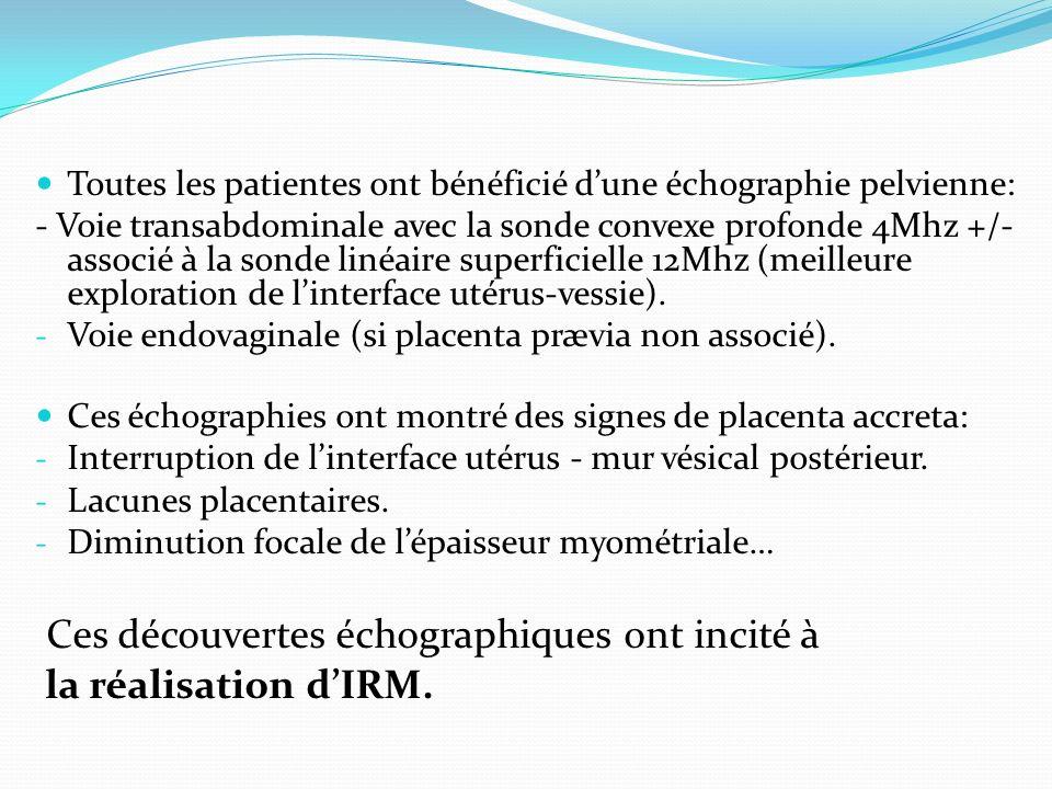 Toutes les patientes ont bénéficié dune échographie pelvienne: - Voie transabdominale avec la sonde convexe profonde 4Mhz +/- associé à la sonde linéa