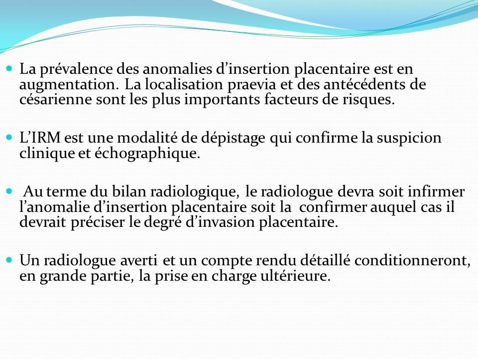 La prévalence des anomalies dinsertion placentaire est en augmentation. La localisation praevia et des antécédents de césarienne sont les plus importa
