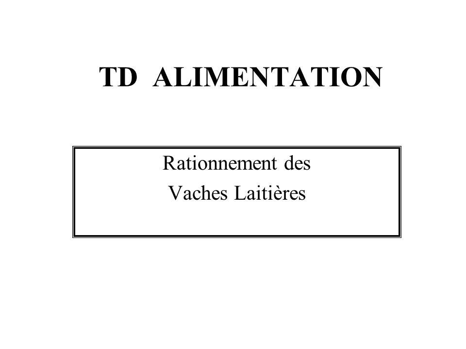 TD ALIMENTATION Rationnement des Vaches Laitières
