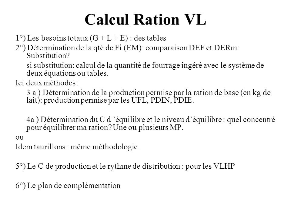 Calcul Ration VL 1°) Les besoins totaux (G + L + E) : des tables 2°) Détermination de la qté de Fi (EM): comparaison DEF et DERm: Substitution? si sub