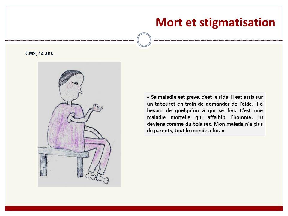 Mort et stigmatisation CM2, 14 ans « Sa maladie est grave, cest le sida. Il est assis sur un tabouret en train de demander de laide. Il a besoin de qu