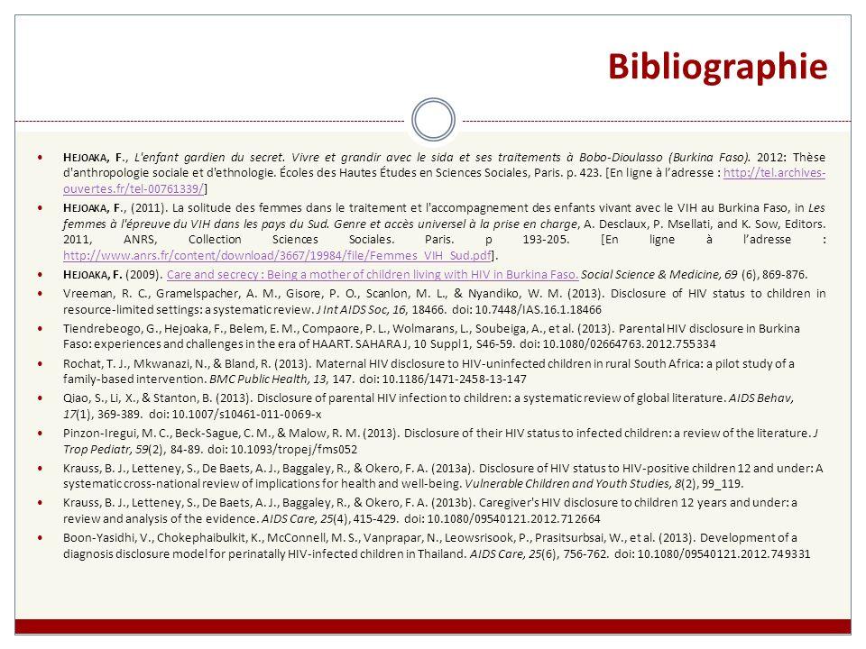 Bibliographie H EJOAKA, F., L enfant gardien du secret.