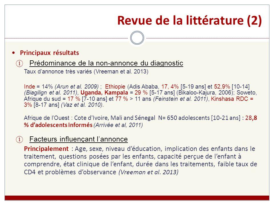 Revue de la littérature (2) Principaux résultats Prédominance de la non-annonce du diagnostic Taux dannonce très variés (Vreeman et al. 2013) Inde = 1