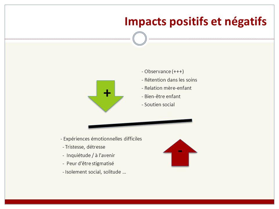 Impacts positifs et négatifs - Observance (+++) - Rétention dans les soins - Relation mère-enfant - Bien-être enfant - Soutien social - Expériences ém