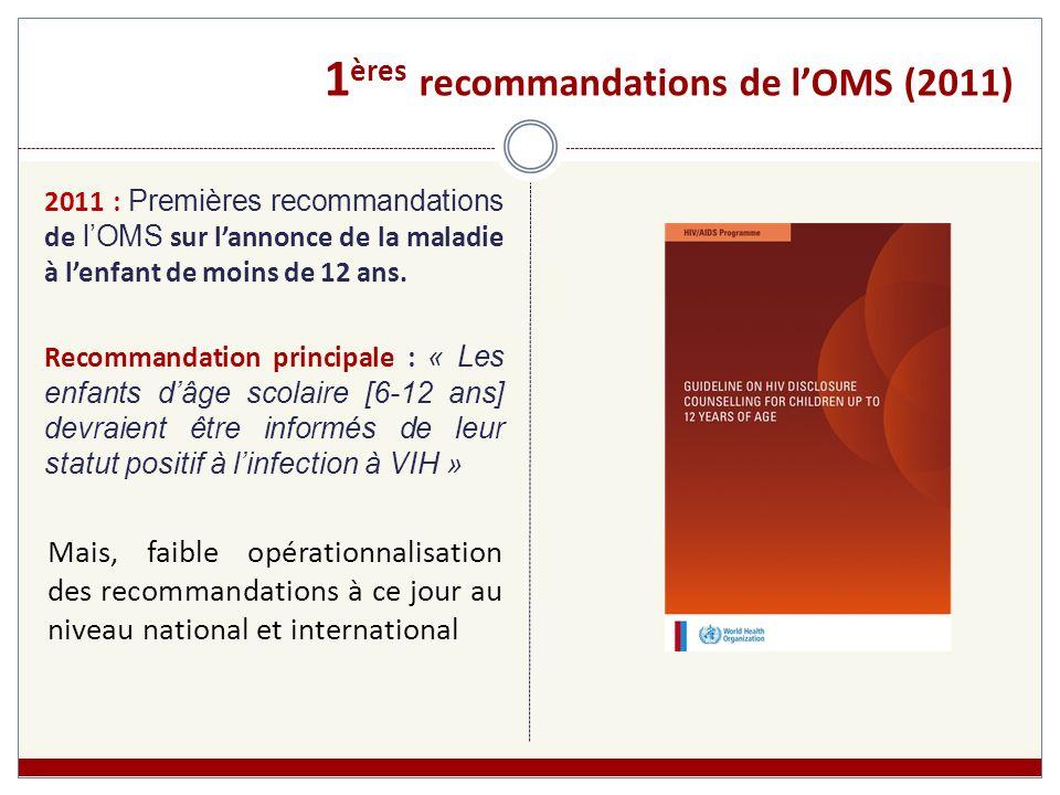 1 ères recommandations de lOMS (2011) 2011 : Premières recommandations de lOMS sur lannonce de la maladie à lenfant de moins de 12 ans. Recommandation