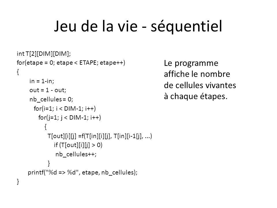 Jeu de la vie - séquentiel int T[2][DIM][DIM]; for(etape = 0; etape < ETAPE; etape++) { in = 1-in; out = 1 - out; nb_cellules = 0; for(i=1; i < DIM-1; i++) for(j=1; j < DIM-1; i++) { T[out][i][j] =f(T[in][i][j], T[in][i-1[j],...) if (T[out][i][j] > 0) nb_cellules++; } printf( %d => %d , etape, nb_cellules); } Le programme affiche le nombre de cellules vivantes à chaque étapes.