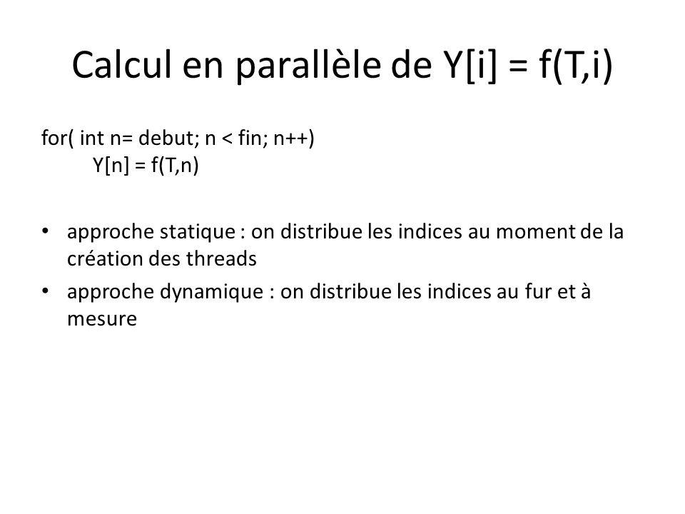 Jeu de la vie - parallèle void calculer(void *id) { int mon_ordre = (int) id; int etape, in = 0, out = 1 ; int debut = id * … int fin = (id +1) * … for (etape=0...) { for(i = debut ; i < fin ; i++) … if (T[out][i][j]) // cellule vivante { pthread_mutex_lock(&mutex_cell); nb_cellules ++; pthread_mutex_unlock(&mutex_cell) } }/* for i */ pthread_barrier_wait(&bar); if (mon_ordre == 0) { printf(...); nb_cellules = 0; } pthread_barrier_wait(&bar); }