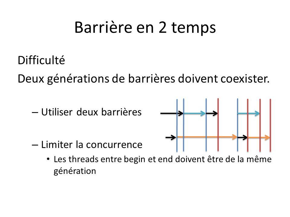 Barrière en 2 temps Difficulté Deux générations de barrières doivent coexister.