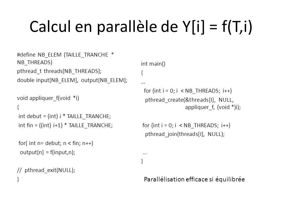 Calcul en parallèle de Y[i] = f(T,i) Solution statique Speedup limité à 2 si un thread a la moitié du travail Approche dynamique pour limiter ce risque – Utiliser un distributeur dindices pthread_mutex_t mutex = PTHREAD_MUTEX_INITIALIZER; int indice = 0; int obtenir_indice() { int k; pthread_mutex_lock(&mutex); k = indice++; pthread_mutex_unlock(&mutex); return (indice > NB_ELEM) .