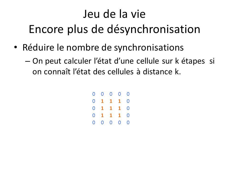 Jeu de la vie Encore plus de désynchronisation Réduire le nombre de synchronisations – On peut calculer létat dune cellule sur k étapes si on connaît létat des cellules à distance k.