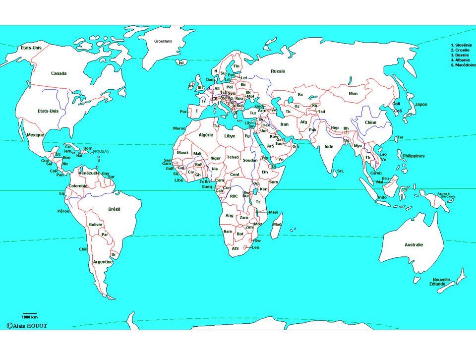 La terre est partagée entre des pays.Le nombre dEtats a beaucoup augmenté au XX siècle.
