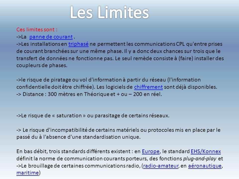 Ces limites sont : ->La panne de courant.panne de courant ->Les installations en triphasé ne permettent les communications CPL qu entre prises de courant branchées sur une même phase.