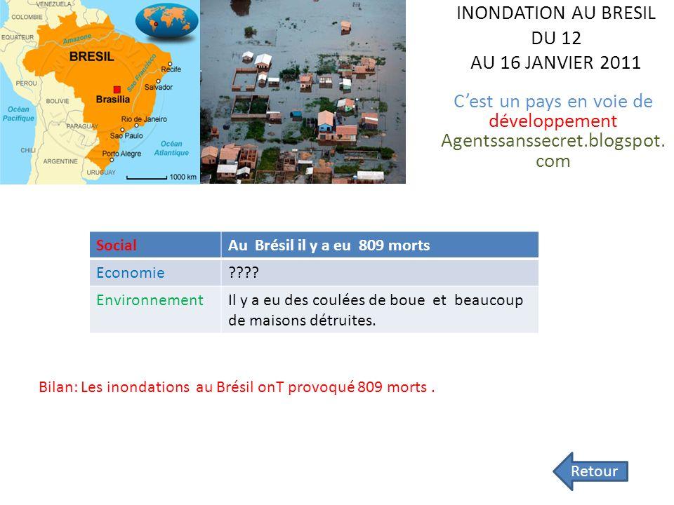 Les catastrophes naturelles en 2011 Survolez le planisphère et retrouvez les pays victimes de catastrophes naturelles en 2011. Cliquez sur « Retour »