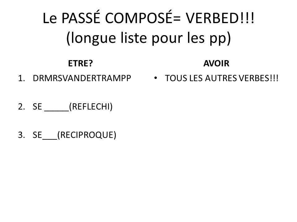 Le PASSÉ COMPOSÉ= VERBED!!. (longue liste pour les pp) ETRE.
