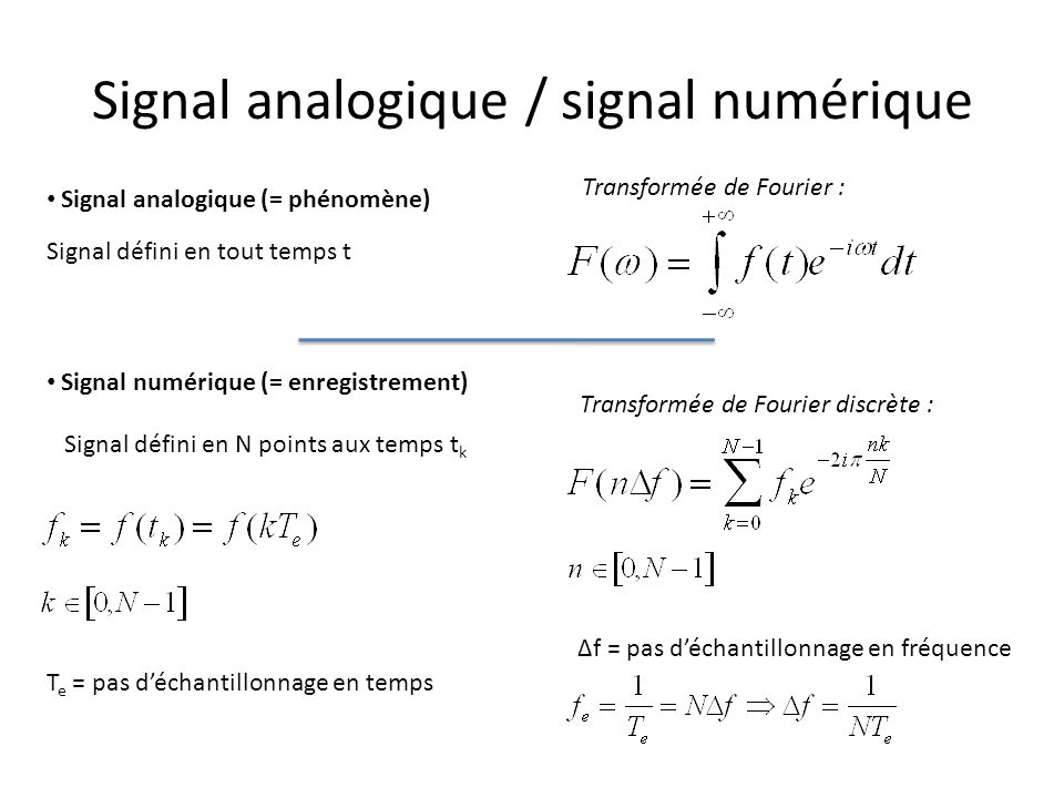 Signal analogique / signal numérique Signal analogique (= phénomène) Transformée de Fourier : Signal numérique (= enregistrement) Transformée de Fourier discrète : Signal défini en tout temps t Signal défini en N points aux temps t k T e = pas déchantillonnage en temps Δf = pas déchantillonnage en fréquence