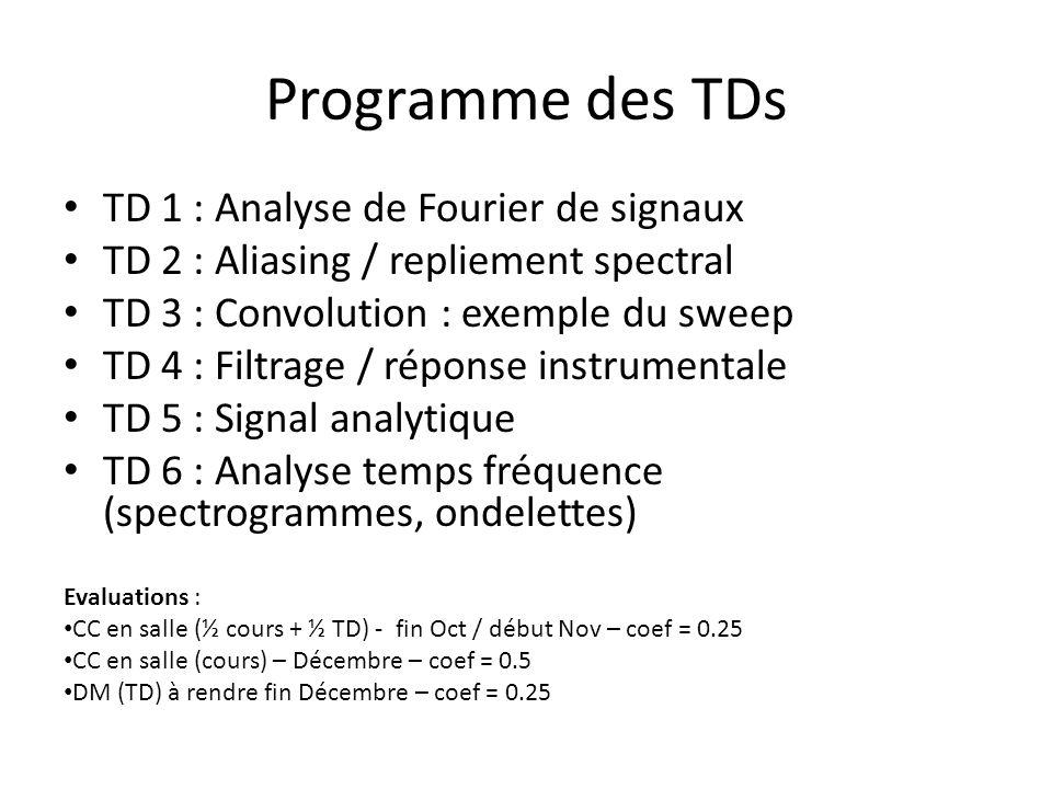 Programme des TDs TD 1 : Analyse de Fourier de signaux TD 2 : Aliasing / repliement spectral TD 3 : Convolution : exemple du sweep TD 4 : Filtrage / réponse instrumentale TD 5 : Signal analytique TD 6 : Analyse temps fréquence (spectrogrammes, ondelettes) Evaluations : CC en salle (½ cours + ½ TD) - fin Oct / début Nov – coef = 0.25 CC en salle (cours) – Décembre – coef = 0.5 DM (TD) à rendre fin Décembre – coef = 0.25