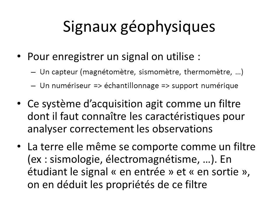 Signaux géophysiques Pour enregistrer un signal on utilise : – Un capteur (magnétomètre, sismomètre, thermomètre, …) – Un numériseur => échantillonnag