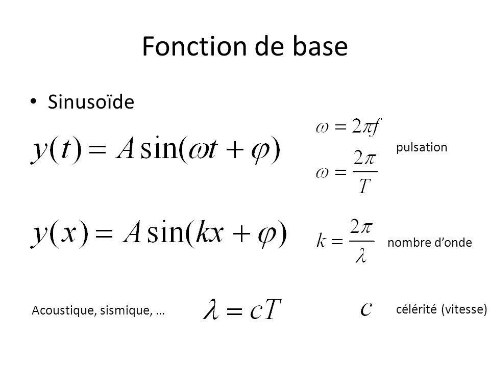 Fonction de base Sinusoïde Acoustique, sismique, … célérité (vitesse) pulsation nombre donde