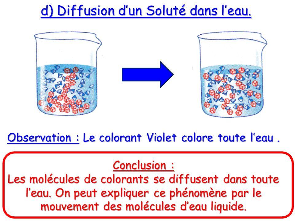 d) Diffusion dun Soluté dans leau. Observation : Le colorant Violet colore toute leau. Conclusion : Les molécules de colorants se diffusent dans toute