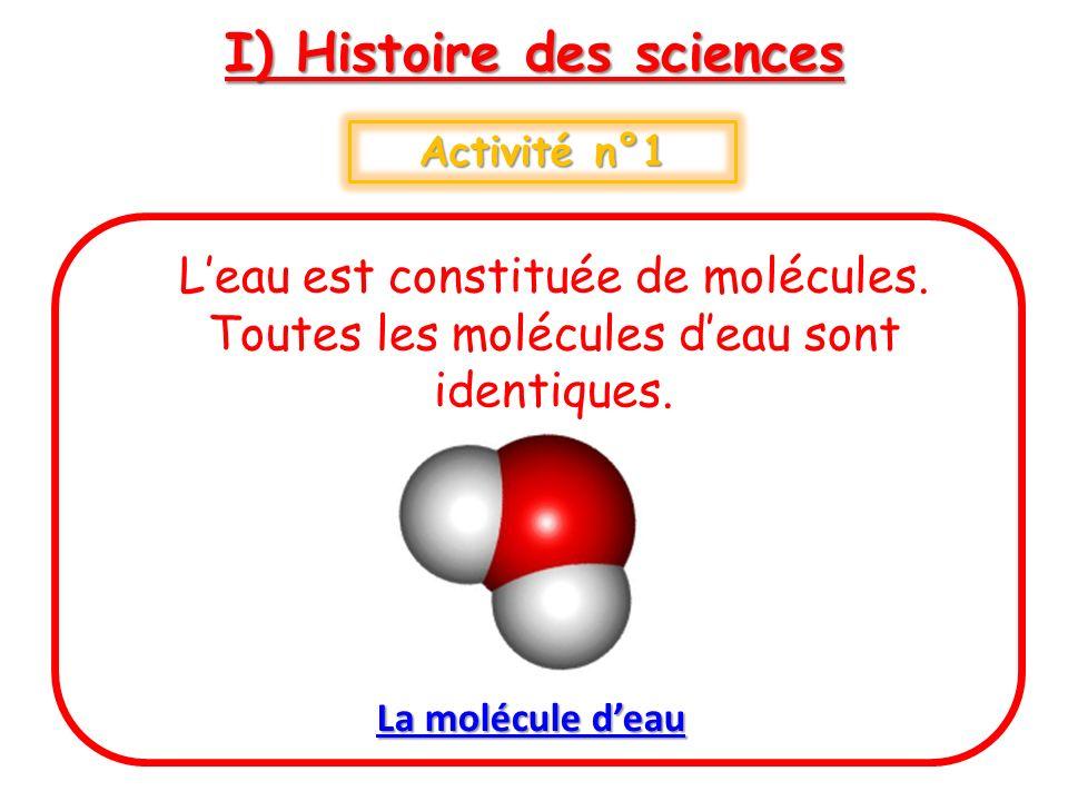 I) Histoire des sciences Activité n°1 Leau est constituée de molécules. Toutes les molécules deau sont identiques. La molécule deau