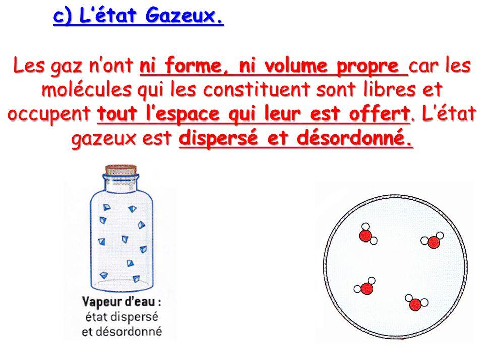 c) Létat Gazeux. Les gaz nont ni forme, ni volume propre car les molécules qui les constituent sont libres et occupent tout lespace qui leur est offer