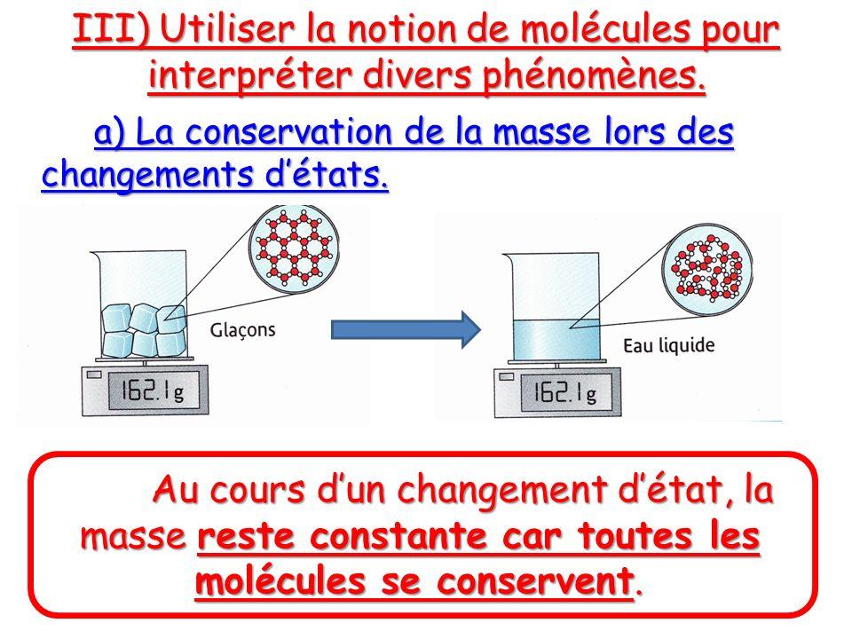 III) Utiliser la notion de molécules pour interpréter divers phénomènes. a) La conservation de la masse lors des changements détats. Au cours dun chan