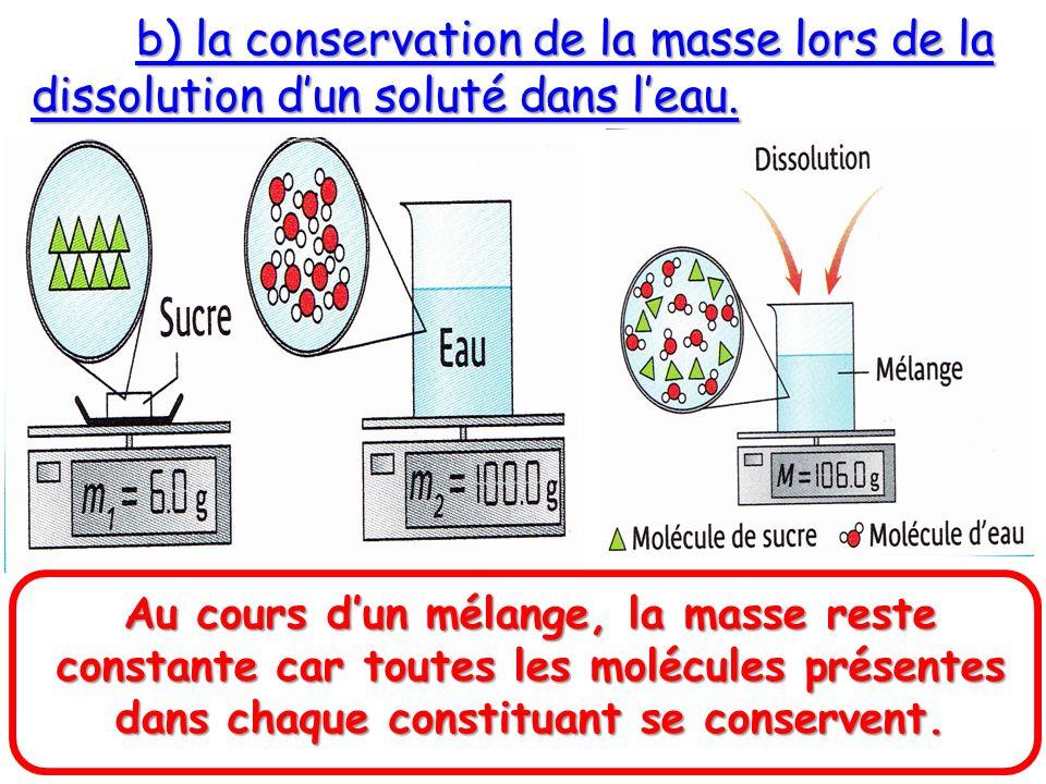 b) la conservation de la masse lors de la dissolution dun soluté dans leau. Au cours dun mélange, la masse reste constante car toutes les molécules pr