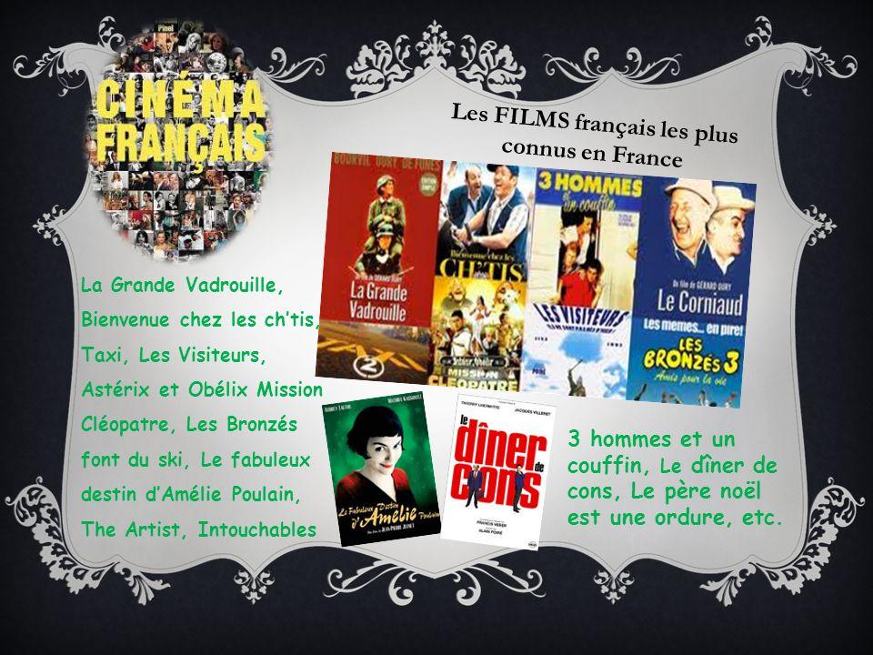 Les FILMS français les plus connus en France La Grande Vadrouille, Bienvenue chez les chtis, Taxi, Les Visiteurs, Astérix et Obélix Mission Cléopatre,