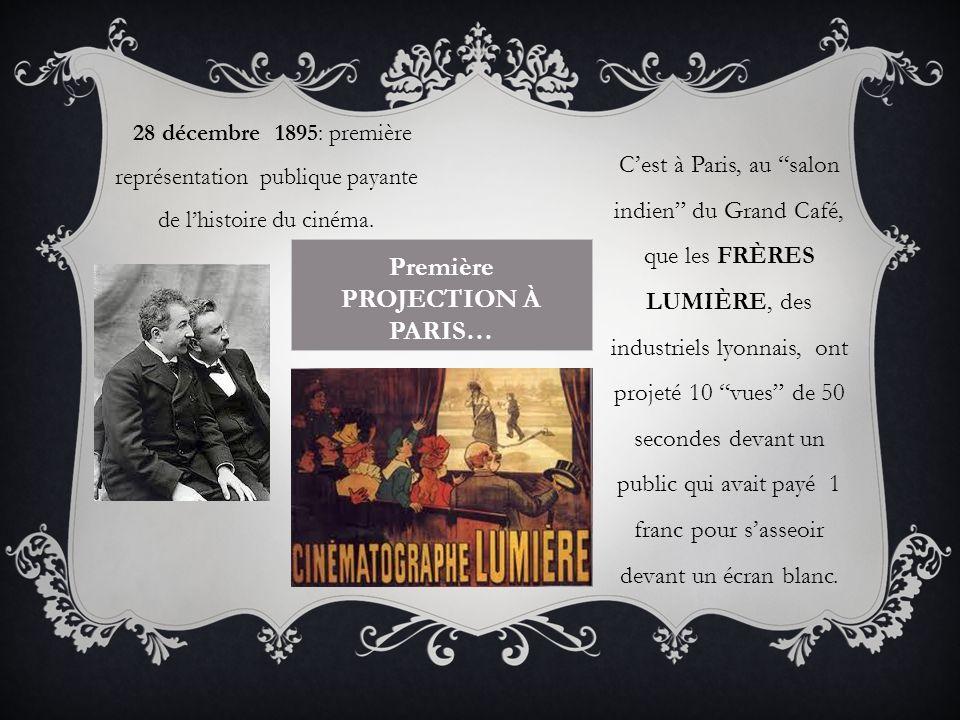 Première PROJECTION À PARIS… Cest à Paris, au salon indien du Grand Café, que les FRÈRES LUMIÈRE, des industriels lyonnais, ont projeté 10 vues de 50