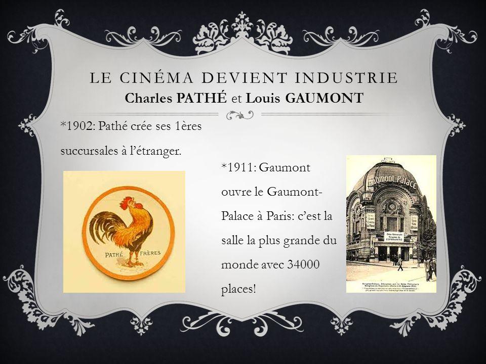 * 1902: Pathé crée ses 1ères succursales à létranger. LE CINÉMA DEVIENT INDUSTRIE *1911: Gaumont ouvre le Gaumont- Palace à Paris: cest la salle la pl
