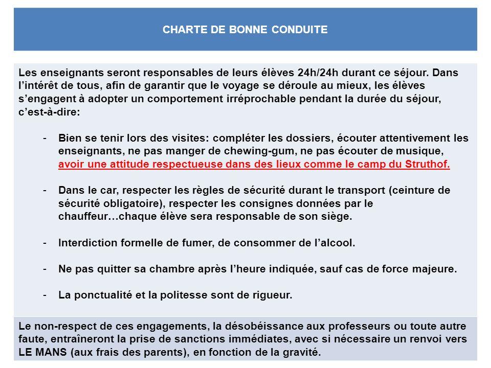 CHARTE DE BONNE CONDUITE Les enseignants seront responsables de leurs élèves 24h/24h durant ce séjour.
