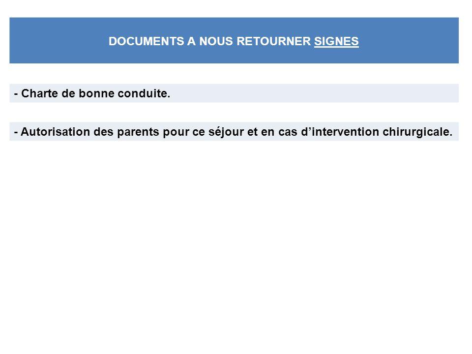 DOCUMENTS A NOUS RETOURNER SIGNES - Charte de bonne conduite.