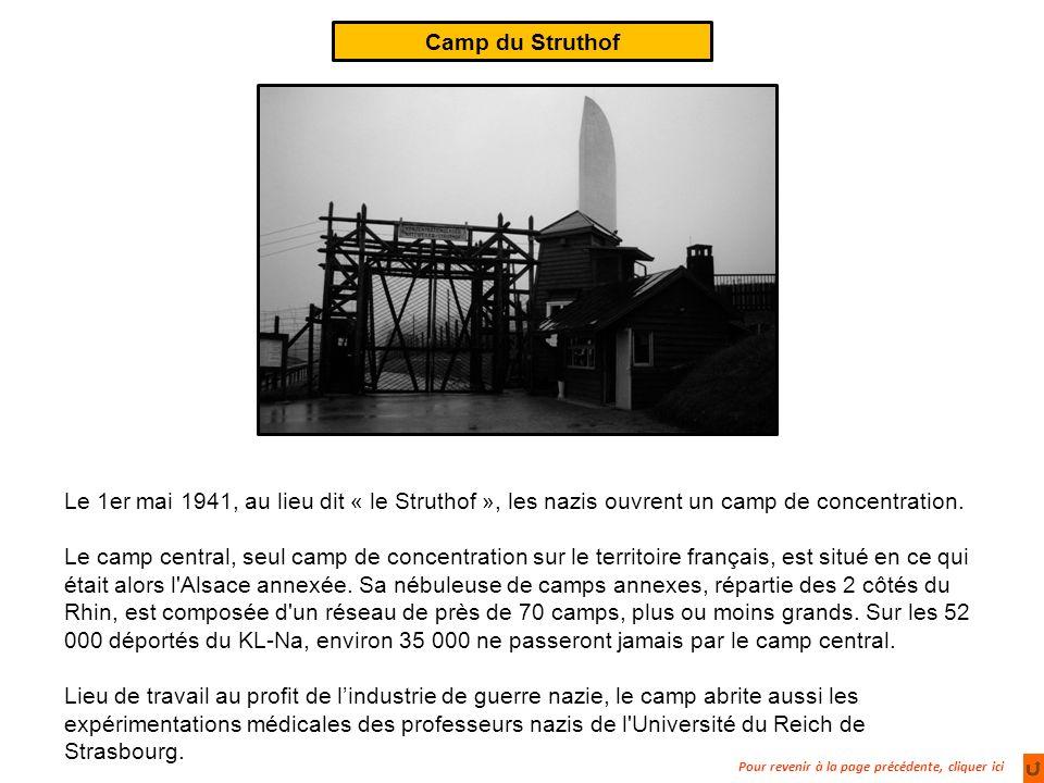 Pour revenir à la page précédente, cliquer ici Camp du Struthof Le 1er mai 1941, au lieu dit « le Struthof », les nazis ouvrent un camp de concentration.