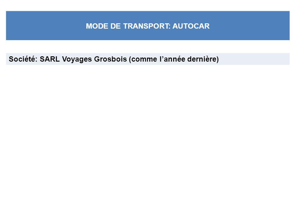 MODE DE TRANSPORT: AUTOCAR Société: SARL Voyages Grosbois (comme lannée dernière)