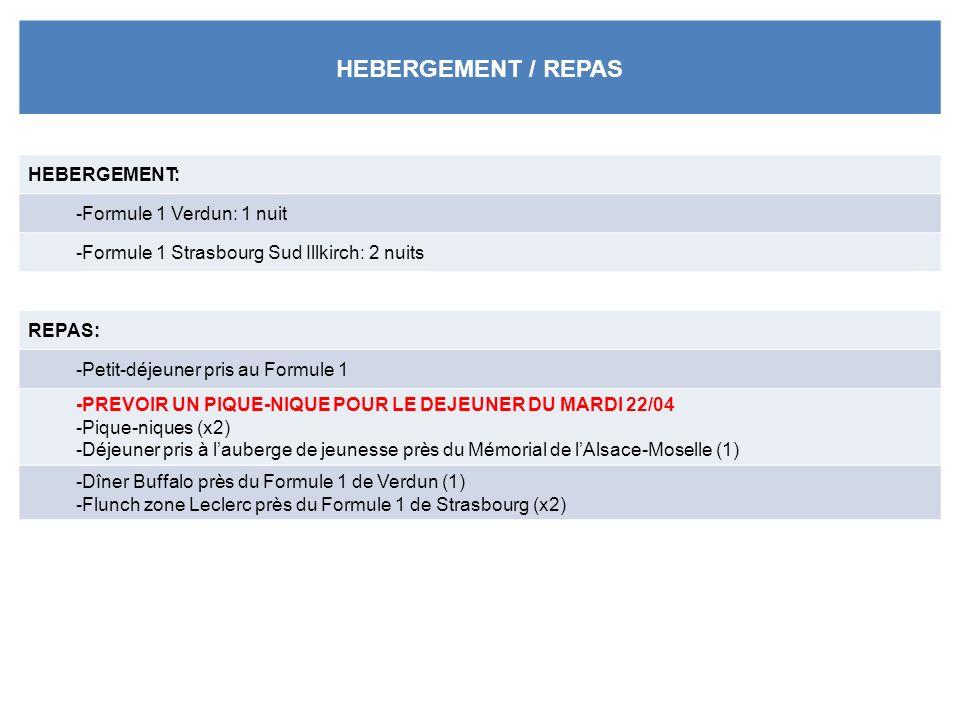HEBERGEMENT / REPAS HEBERGEMENT: -Formule 1 Verdun: 1 nuit -Formule 1 Strasbourg Sud Illkirch: 2 nuits REPAS: -Petit-déjeuner pris au Formule 1 -PREVOIR UN PIQUE-NIQUE POUR LE DEJEUNER DU MARDI 22/04 -Pique-niques (x2) -Déjeuner pris à lauberge de jeunesse près du Mémorial de lAlsace-Moselle (1) -Dîner Buffalo près du Formule 1 de Verdun (1) -Flunch zone Leclerc près du Formule 1 de Strasbourg (x2)