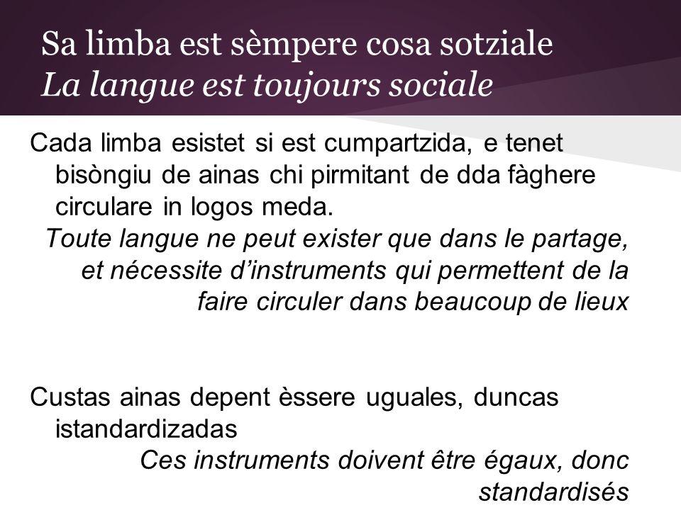 Sa limba est sèmpere cosa sotziale La langue est toujours sociale Cada limba esistet si est cumpartzida, e tenet bisòngiu de ainas chi pirmitant de dda fàghere circulare in logos meda.