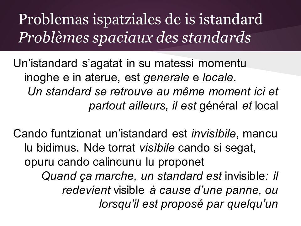 Problemas ispatziales de is istandard Problèmes spaciaux des standards Unistandard sagatat in su matessi momentu inoghe e in aterue, est generale e locale.