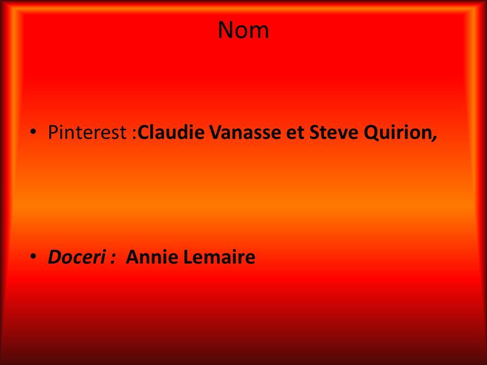 Nom Pinterest :Claudie Vanasse et Steve Quirion, Doceri : Annie Lemaire