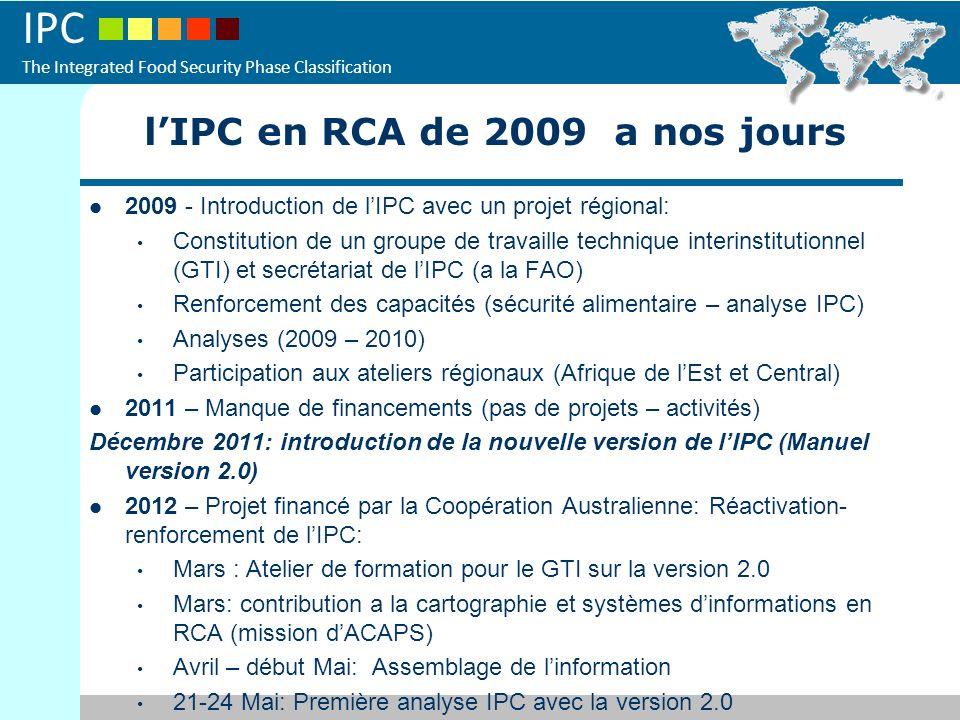 IPC The Integrated Food Security Phase Classification 2012 - Activités prévues (dates encore a confirmer par le GTI): - Formation sur IPC (chronique – aigue au niveau décentralisé) - Analyse de l insécurité alimentaire chronique (pilote – Septembre 2012?) - Analyse insécurité alimentaire aigue (deuxième round Nov 2012?, après JAM – SMART) Collaboration avec les autres intervenantes dans le système (ACF/ FEWS NET – exemple révision des zones des moyennes d existence) Renforcer les collaborations avec les autres intervenants en sécurité alimentaire (partage dinformation – support au cluster…) Recherche de financements pour ces différentes activités.