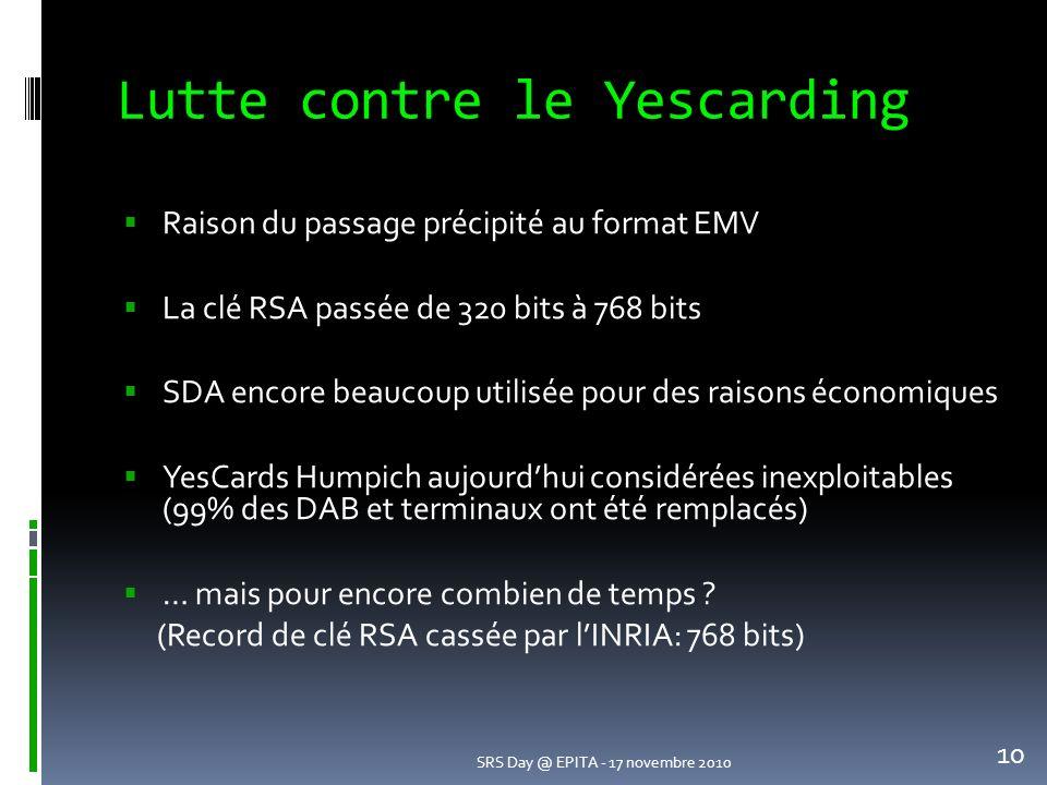 Lutte contre le Yescarding Raison du passage précipité au format EMV La clé RSA passée de 320 bits à 768 bits SDA encore beaucoup utilisée pour des raisons économiques YesCards Humpich aujourdhui considérées inexploitables (99% des DAB et terminaux ont été remplacés) … mais pour encore combien de temps .
