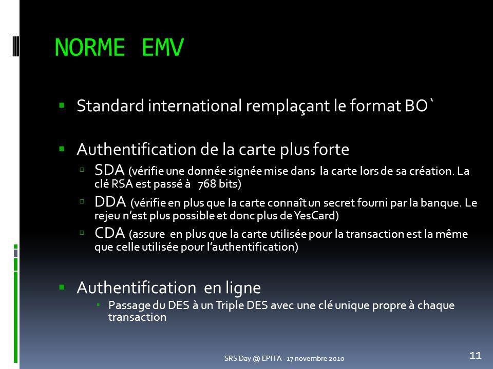 NORME EMV 11 SRS Day @ EPITA - 17 novembre 2010 Standard international remplaçant le format BO` Authentification de la carte plus forte SDA (vérifie une donnée signée mise dans la carte lors de sa création.