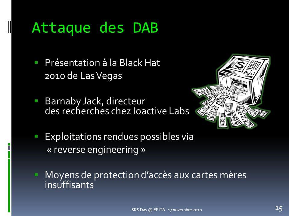 Attaque des DAB Présentation à la Black Hat 2010 de Las Vegas Barnaby Jack, directeur des recherches chez Ioactive Labs Exploitations rendues possibles via « reverse engineering » Moyens de protection daccès aux cartes mères insuffisants SRS Day @ EPITA - 17 novembre 2010 15