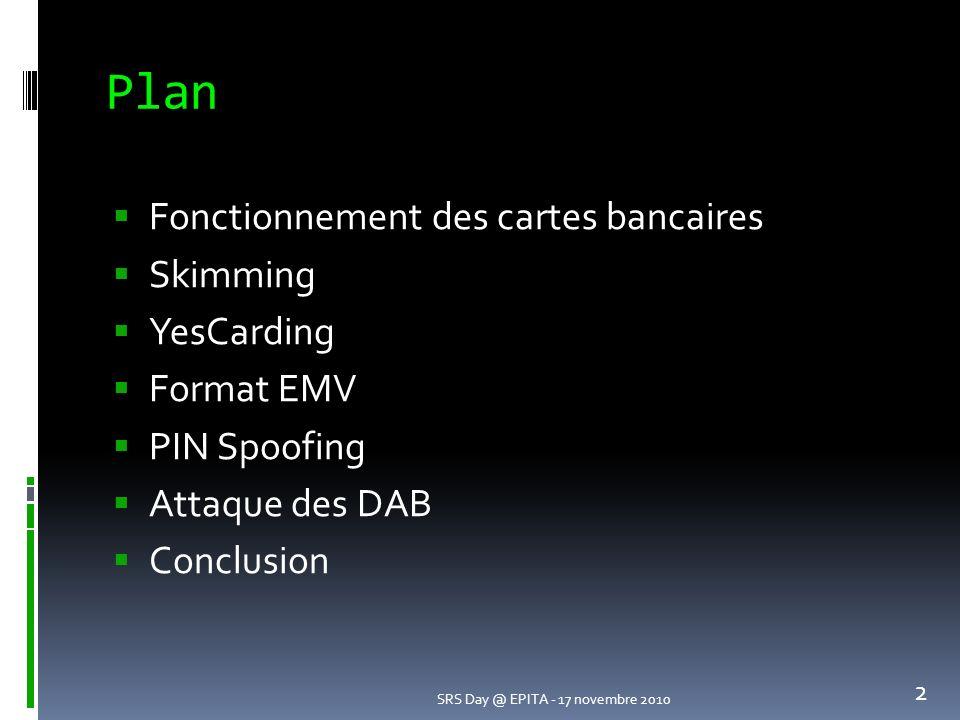 Plan Fonctionnement des cartes bancaires Skimming YesCarding Format EMV PIN Spoofing Attaque des DAB Conclusion SRS Day @ EPITA - 17 novembre 2010 2