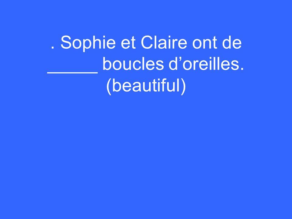 . Sophie et Claire ont de _____ boucles doreilles. (beautiful)