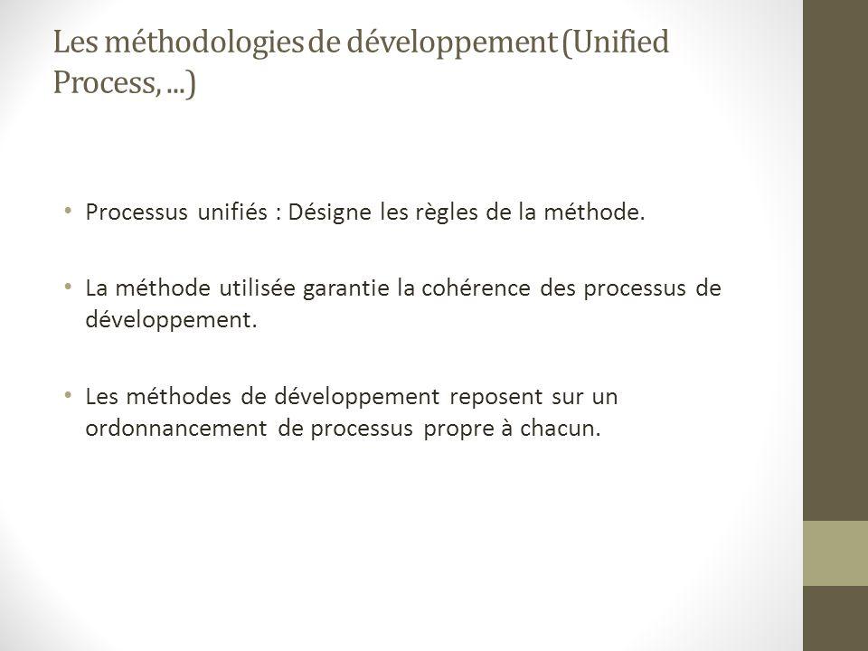 Les méthodologies de développement (Unified Process,...) Processus unifiés : Désigne les règles de la méthode. La méthode utilisée garantie la cohéren