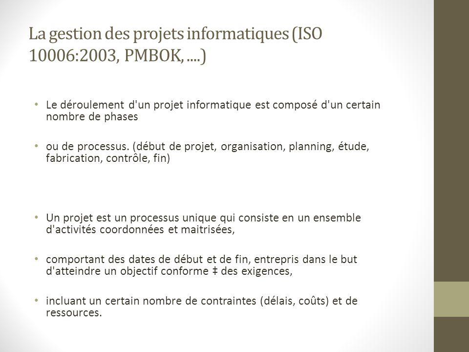 La gestion des projets informatiques (ISO 10006:2003, PMBOK,....) Le déroulement d'un projet informatique est composé d'un certain nombre de phases ou