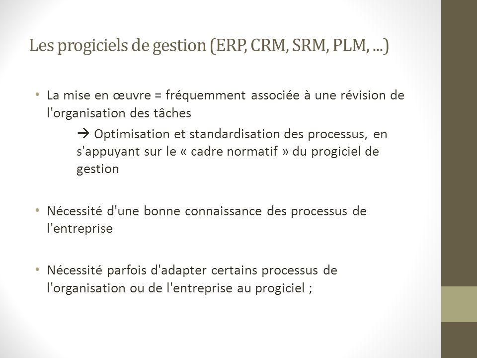 Les progiciels de gestion (ERP, CRM, SRM, PLM,...) La mise en œuvre = fréquemment associée à une révision de l'organisation des tâches Optimisation et