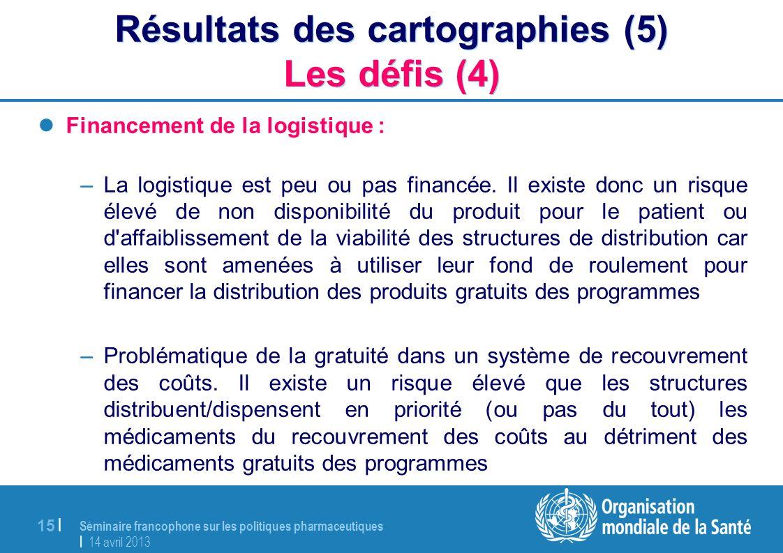 Séminaire francophone sur les politiques pharmaceutiques | 14 avril 2013 15 | Résultats des cartographies (5) Les défis (4) Financement de la logistiq